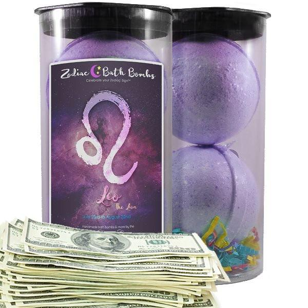 Leo Zodiac Cash Bath Bombs-Zodiac Cash Bath Bombs-The Official Website of Jewelry Candles - Find Jewelry In Candles!