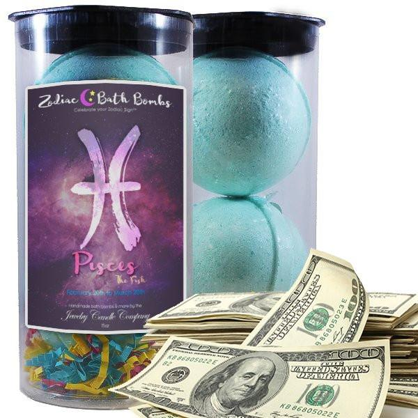 Pisces Zodiac Cash Bath Bombs-Zodiac Cash Bath Bombs-The Official Website of Jewelry Candles - Find Jewelry In Candles!