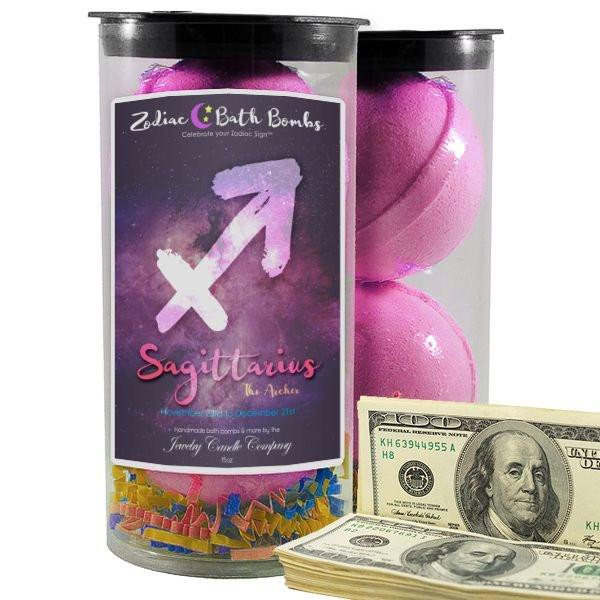 Sagittarius Zodiac Cash Bath Bombs-Zodiac Cash Bath Bombs-The Official Website of Jewelry Candles - Find Jewelry In Candles!