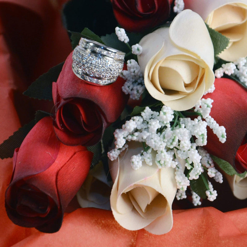 Red & Cream Wax Dipped Roses Bouquet-Red and Cream Wax Roses-The Official Website of Jewelry Candles - Find Jewelry In Candles!
