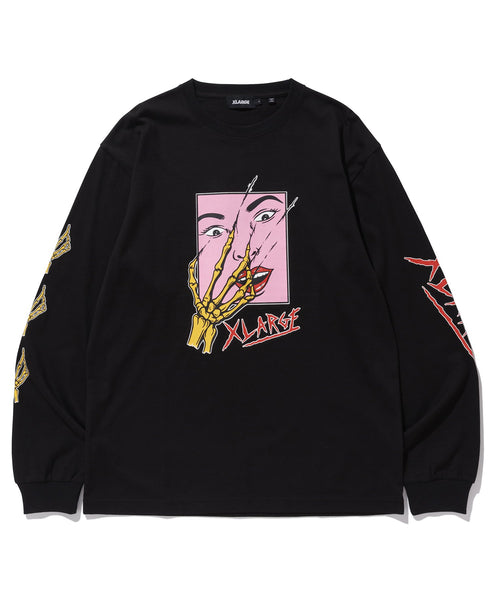 L/S TEE SCARED FACE - BLACK