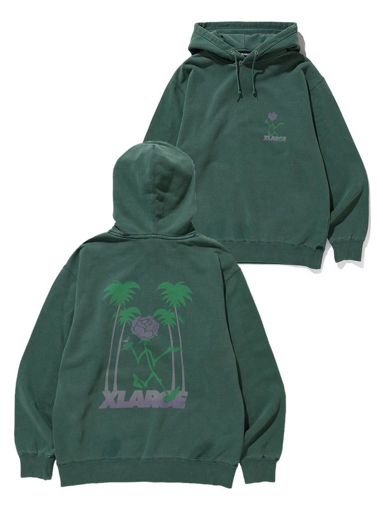 TIPSY PIGMENT PULLOVER HOODED SWEAT - GREEN