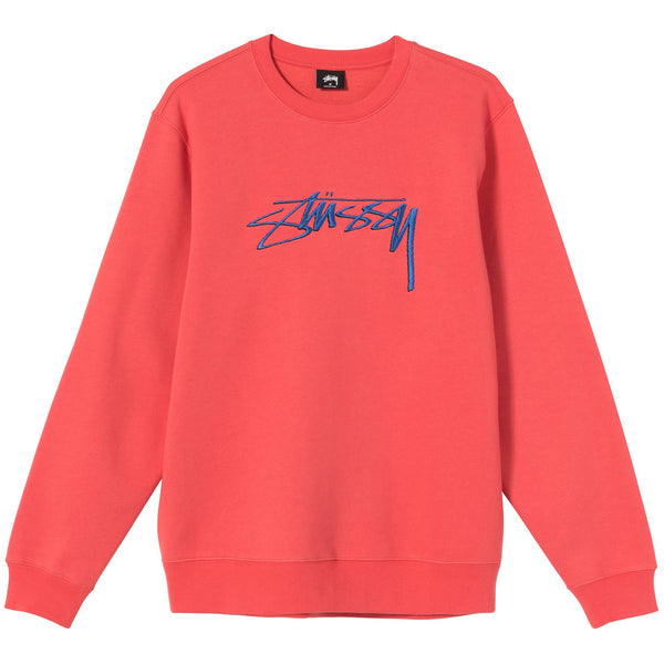 SMOOTH STOCK EMBROIDERED CREW - Pale Red