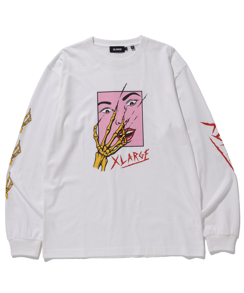 L/S TEE SCARED FACE - WHITE