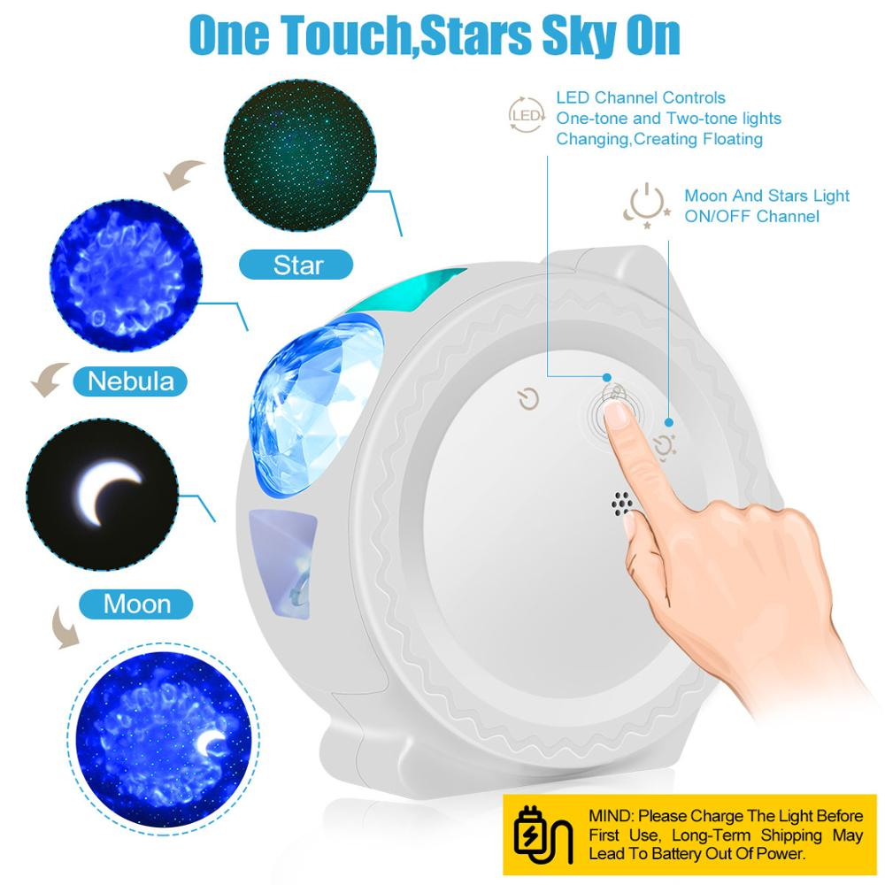 Star Sky Projector Star Night Light Projection 6 Colors Ocean Waving Lights 360 Degree Rotation Night Lighting Lamp for Kids