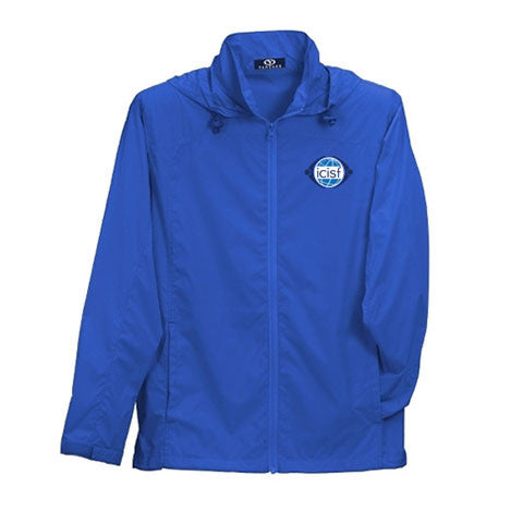 Vibrant Blue Jacket shows off a water resistant finish and ICISF logo
