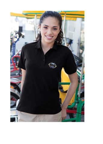 Young woman in an active workplace looks put together and comfortable in a black polo featuring an embroidered ICISF logo