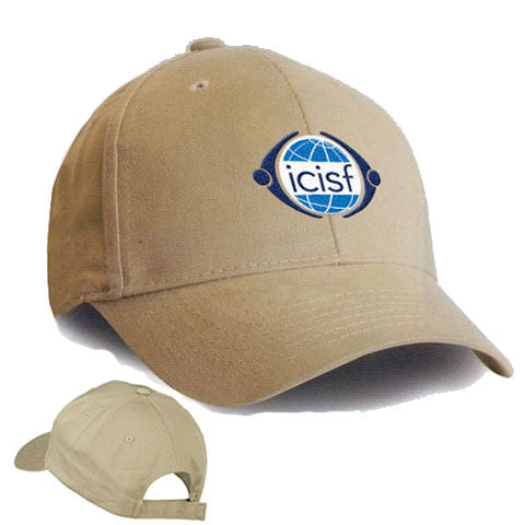 Beige or tan baseball cap is stylish and practical with ICISF logo on the front and an adjustable back strap