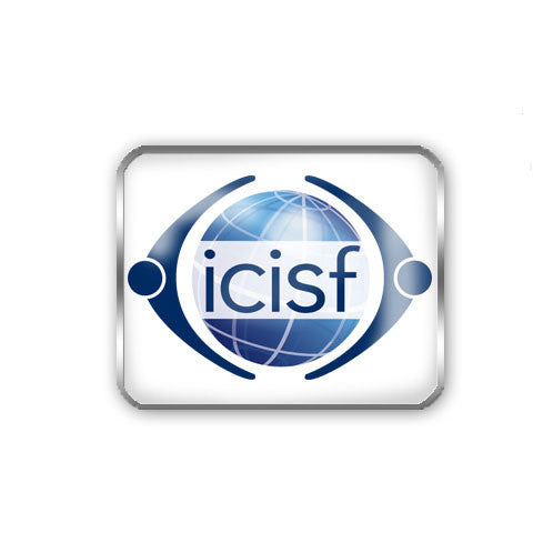 Rectangular shirt pin featuring the ICISF logo surrounded by a beautiful polished metal edge