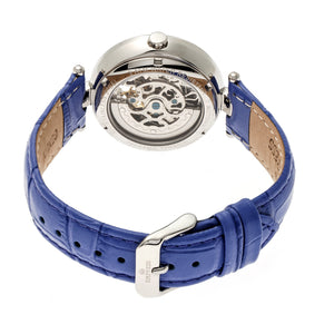 Empress Stella Automatic Semi-Skeleton MOP Leather-Band Watch - Purple/White - EMPEM2103