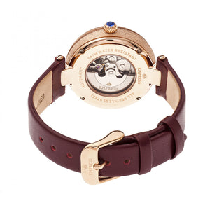 Empress Louise Automatic MOP Leather-Band Watch - Rose Gold/Burgandy - EMPEM2304