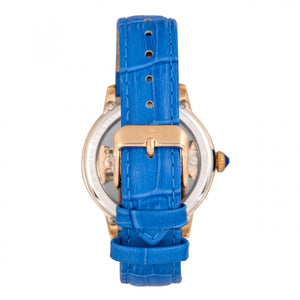 Empress Rania Mechanical Semi-Skeleton Leather-Band Watch - Blue - EMPEM2804
