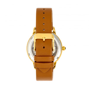 Empress Diana Automatic Engraved MOP Leather-Band Watch - Camel - EMPEM3004
