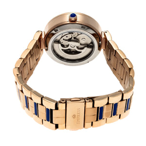 Empress Catherine Automatic Hammered Dial Bracelet Watch - Blue - EMPEM1905