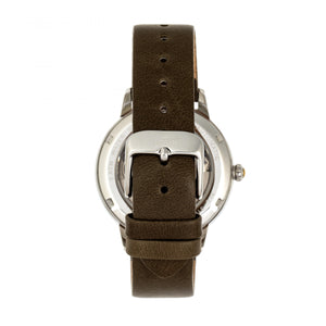 Empress Diana Automatic Engraved MOP Leather-Band Watch - Olive - EMPEM3001