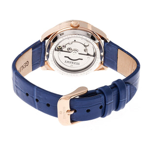 Empress Messalina Automatic MOP Leather-Band Watch w/Date - Blue - EMPEM2404