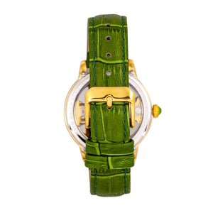Empress Rania Mechanical Semi-Skeleton Leather-Band Watch - Green - EMPEM2802