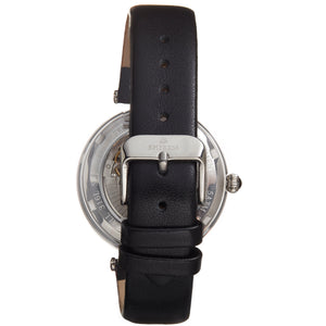 Empress Anne Automatic Semi-Skeleton Leather-Band Watch - Black - EMPEM3101