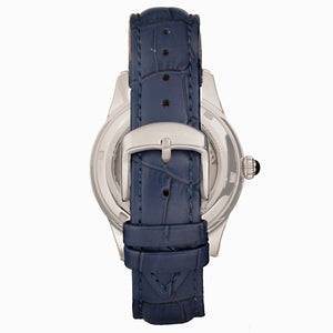 Empress Augusta Automatic Mosaic Mother-of-Pearl Leather-Band Watch - Silver/Blue - EMPEM3502