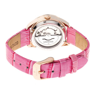 Empress Messalina Automatic MOP Leather-Band Watch w/Date - Pink - EMPEM2405