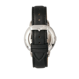 Empress Quinn Automatic MOP Semi-Skeleton Dial Leather-Band Watch - Black - EMPEM2704