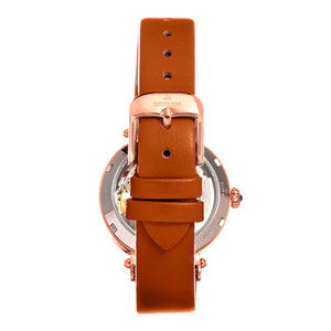 Empress Alouette Automatic Semi-Skeleton Leather-Band Watch - Light Brown - EMPEM3405