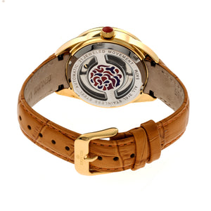 Empress Helena Leather-Band Watch w/Date - Gold/Camel - EMPEM1805