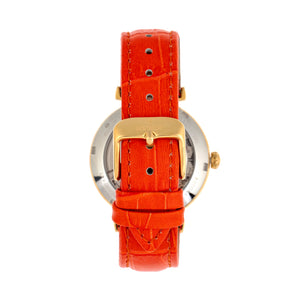 Empress Edith Semi-Skeleton Leather-Band Watch - Orange - EMPEM3304