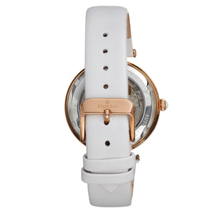 Empress Anne Automatic Semi-Skeleton Leather-Band Watch - White - EMPEM3104