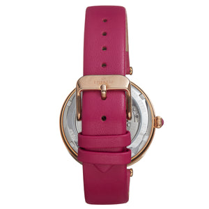 Empress Anne Automatic Semi-Skeleton Leather-Band Watch - Hot Pink - EMPEM3105
