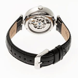 Empress Stella Automatic Semi-Skeleton MOP Leather-Band Watch - Black - EMPEM2102
