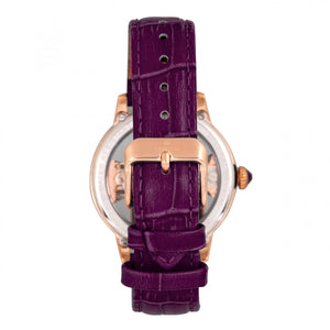 Empress Rania Mechanical Semi-Skeleton Leather-Band Watch - Plum - EMPEM2805