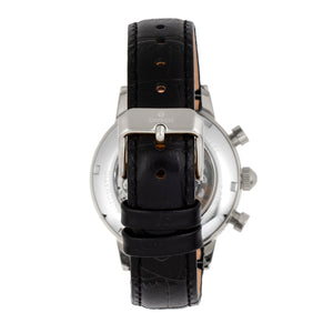 Empress Beatrice Automatic Skeleton Dial Leather-Band Watch w/Day/Date - Silver/Black - EMPEM2002