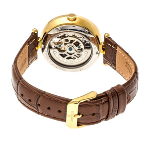 Empress Stella Automatic Semi-Skeleton MOP Leather-Band Watch - Brown/White - EMPEM2104