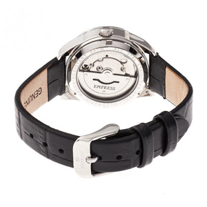 Empress Messalina Automatic MOP Leather-Band Watch w/Date - Black - EMPEM2401