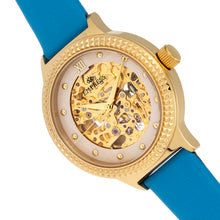 Load image into Gallery viewer, Empress Alice Automatic MOP Skeleton Dial Leather-Band Watch - Blue - EMPEM3204