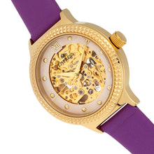 Load image into Gallery viewer, Empress Alice Automatic MOP Skeleton Dial Leather-Band Watch - Purple - EMPEM3205