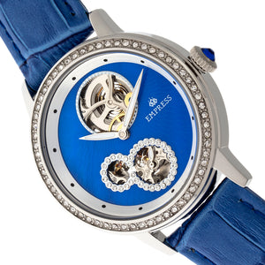 Empress Tatiana Automatic Semi-Skeleton Leather-Band Watch - Blue - EMPEM2902