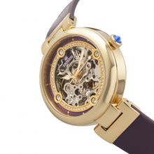 Load image into Gallery viewer, Empress Adelaide Automatic Skeleton Leather-Band Watch - Purple  - EMPEM2506
