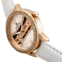 Load image into Gallery viewer, Empress Rania Mechanical Semi-Skeleton Leather-Band Watch - White - EMPEM2803