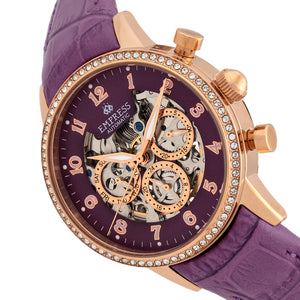 Empress Beatrice Automatic Skeleton Dial Leather-Band Watch w/Day/Date - Rose Gold/Purple - EMPEM2006