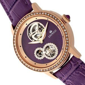 Empress Tatiana Automatic Semi-Skeleton Leather-Band Watch - Purple - EMPEM2905