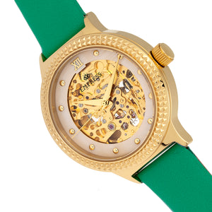 Empress Alice Automatic MOP Skeleton Dial Leather-Band Watch - Green - EMPEM3203