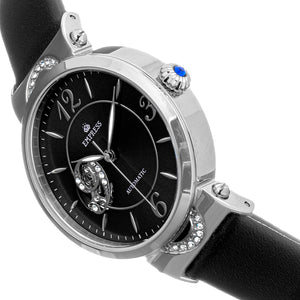 Empress Alouette Automatic Semi-Skeleton Leather-Band Watch - Black - EMPEM3404