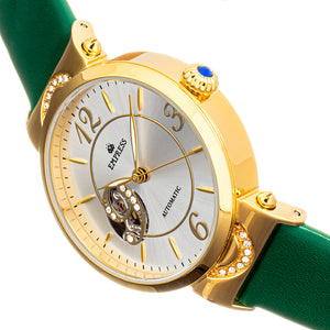 Empress Alouette Automatic Semi-Skeleton Leather-Band Watch - Green - EMPEM3403