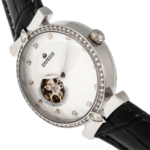 Empress Edith Semi-Skeleton Leather-Band Watch - White - EMPEM3301