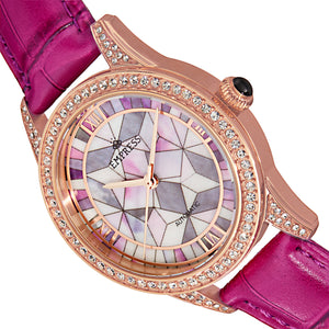 Empress Augusta Automatic Mosaic Mother-of-Pearl Leather-Band Watch - Rose Gold/Fuchsia - EMPEM3505