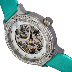 Empress Alice Automatic MOP Skeleton Dial Leather-Band Watch - Mint - EMPEM3202