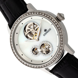 Empress Tatiana Automatic Semi-Skeleton Leather-Band Watch - Black - EMPEM2901