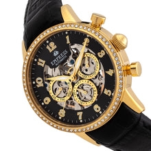 Load image into Gallery viewer, Empress Beatrice Automatic Skeleton Dial Leather-Band Watch w/Day/Date - Gold/Black - EMPEM2004